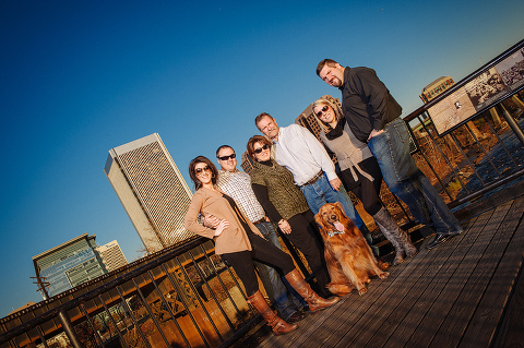 Family pictures with the family dog at the canal walk in Richmond