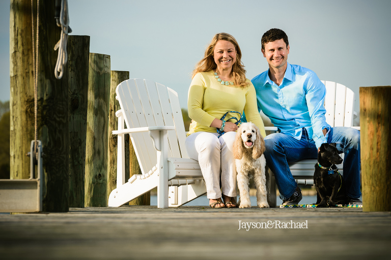 Lauren and Chris' River Engagement Session with dogs