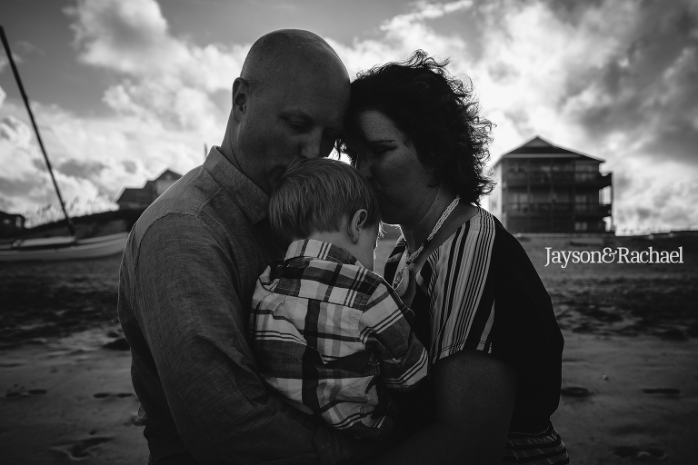 Black and White family beach portraits on the Outer Banks of North Carolina